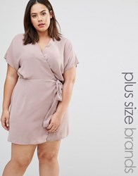 Missguided Plus Size Kimono Sleeve Wrap Front Dress Taupe Beige