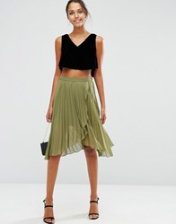 Asos Pleated Midi Skirt With Wrap Front Detail Khaki Green