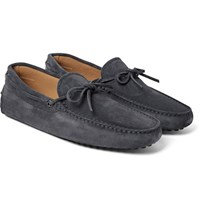 Tod's Gommino Suede Driving Shoes Dark Gray