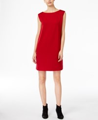 Eileen Fisher Boat Neck Shift Dress China Red