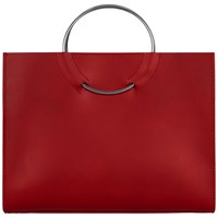 Jaeger Ring Handle Tote Black Burgundy