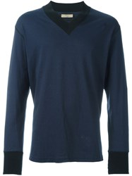Romeo Gigli Vintage Ribbed V Neck Jumper Blue