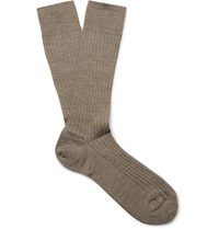 Marcoliani Ribbed Merino Wool Blend Socks Cream
