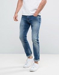 Calvin Klein Jeans Slim Straight Jeans In Elastic Mid Blue