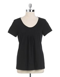 Lord And Taylor Short Sleeved Scoopneck Tee Black