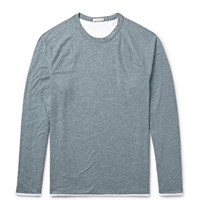 James Perse Melange Cotton Blend Jersey T Shirt Gray Green