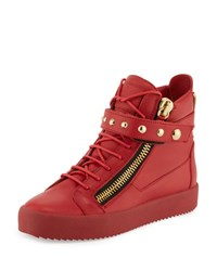 Giuseppe Zanotti Men's Stud Strap Leather High Top Sneaker Red