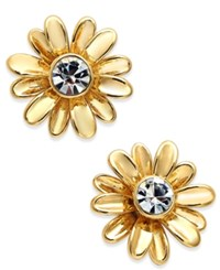 Kate Spade New York 14K Gold Plated Crystal Daisy Button Earrings