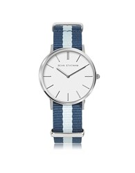 Sean Statham Stainless Steel Unisex Quartz Watch W Blue Striped Canvas Band