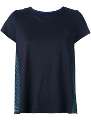 Sacai Printed Pleated Back T Shirt Blue
