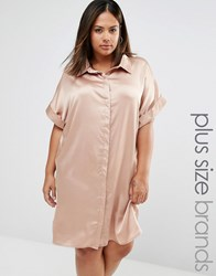 Missguided Plus Satin Short Sleeve Shirt Dress Nude Beige