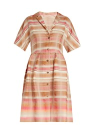 Brock Collection Donna Striped Jacquard Shirtdress Pink Multi