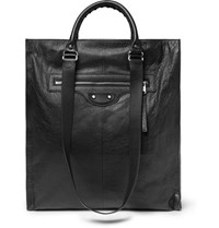Balenciaga Arena Textured Leather Tote Bag Black