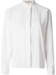 Celine Vintage Mandarin Pleated Shirt White