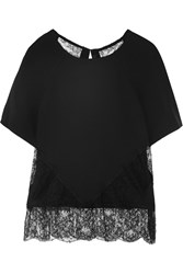 Wes Gordon Lace Paneled Crepe Top Black
