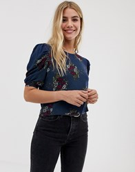 Parisian Floral Short Sleeve Blouse Navy