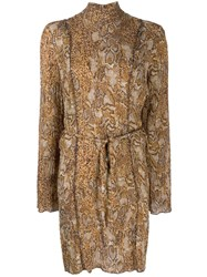 Nanushka Yai Snake Print Dress Brown