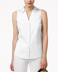 Maison Jules Sleeveless Button Down Shirt Only At Macy's Washed White