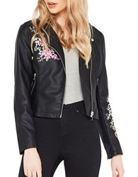 Miss Selfridge Long Sleeve Floral Motif Moto Jacket Black