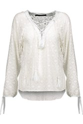W118 By Walter Baker Natalia Lace Up Crochet Trimmed Flocked Georgette Blouse White