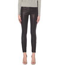 J Brand Super Skinny Mid Rise Leather Jeans Navy