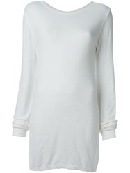 Rick Owens Long Length Sweater White