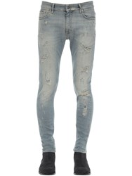 Represent Repaired Cotton Blend Denim Jeans Blue