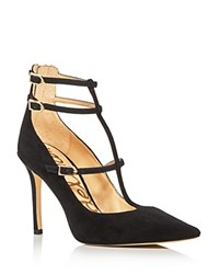 Sam Edelman Hayes T Strap Pointed Toe Pumps Black