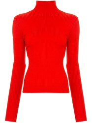 Nobody Denim Luxe Ribbed Sweater Red