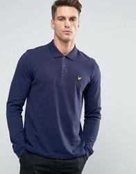 Lyle And Scott Long Sleeve Pique Polo Eagle Logo In Navy Navy