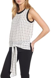 Trouve Women's Sleeveless Tie Front Top White Snow Stacked Dots