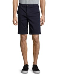 7 For All Mankind Stretch Cotton Flat Front Shorts Admiral Blue Multicolor