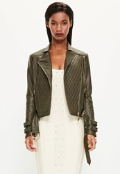 Missguided Khaki Faux Leather Quilted Biker Jacket