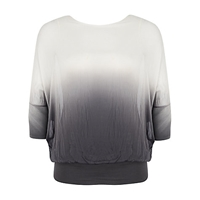 Chesca Ombre Batwing Top Ivory Grey