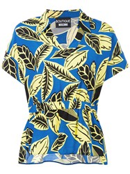 Boutique Moschino Floral Print Polo Shirt Blue