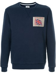 Kent And Curwen Embroidered Flag Sweatshirt Blue