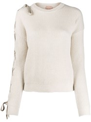 Nude Lace Up Detail Jumper Neutrals