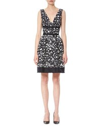 Carolina Herrera Sleeveless Splatter Print Dress Navy White Navy White