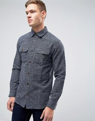 Jack And Jones Vintage Shirt In Heavy Textured Fabric In Regular Fit Total Eclipse Navy