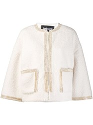 Just Cavalli Chain Trim Boxy Jacket White