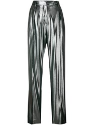 Alberta Ferretti High Waisted Straight Trousers Metallic