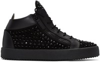 Giuseppe Zanotti Black Crystal London High Top Sneakers