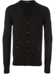 Dolce And Gabbana Embroidered Crown Cardigan Black