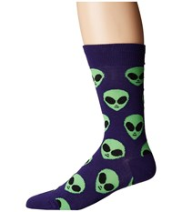 Socksmith We Come In Peace Purple Crew Cut Socks Shoes