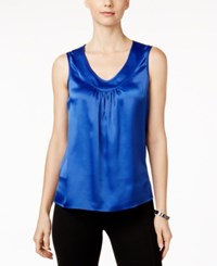 Kasper V Neck Satin Shell Celeste
