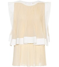 Chloe Silk Blend Pleated Top Beige