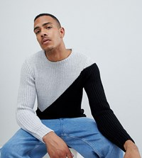 D Struct Tall Diagonal Crew Neck Jumper White Marl Black