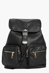 Boohoo Zip Front Double Pocket Buckle Backpack Black