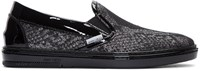 Jimmy Choo Silver Snake Lame Slip On Sneakers