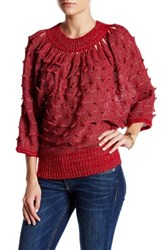 Chaudry Embellished Crop Sweater Red